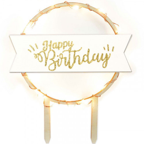 Cake Topper, LED Happy Birthday - ScrapCooking