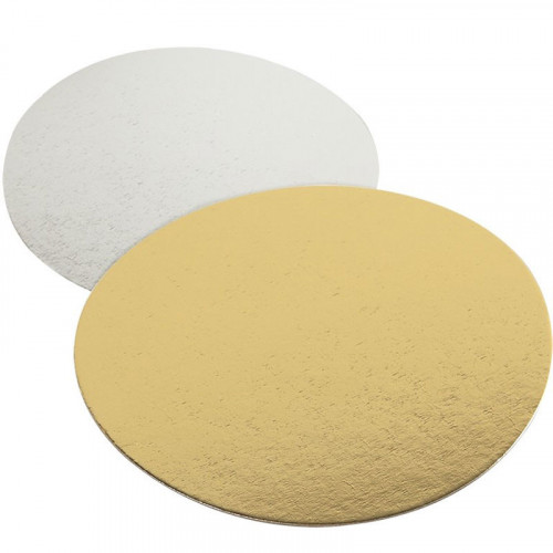 Guld/Silver tårtbricka - 18 cm