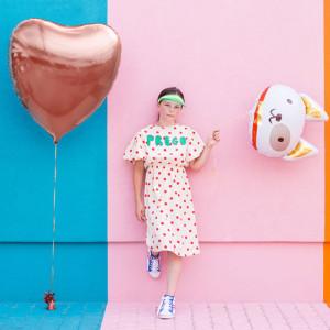 Folieballong Hjärta, Rose Guld - PartyDeco