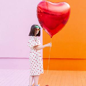 Folieballong Hjärta, Röd - PartyDeco