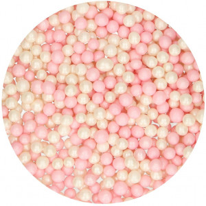 Sockerpärlor, Soft Pearls, rosa/vit - FunCakes