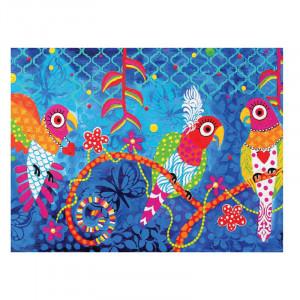 Kökshandduk 50 x 70 cm. Blå med fåglar på.