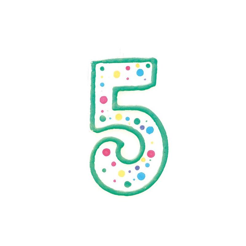 Wilton Tårtljus, sifferljus, 5, grön