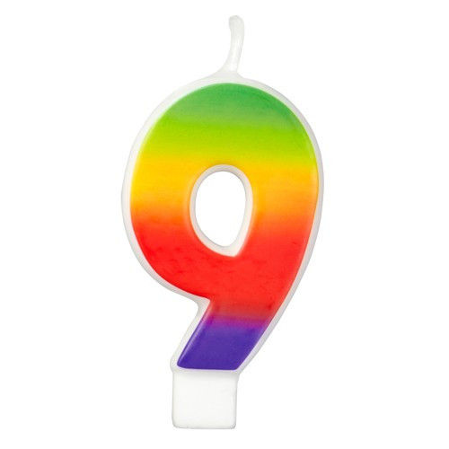 Wilton Tårtljus, sifferljus, 9, Rainbow