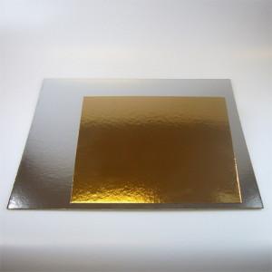 Tårtbricka guld och silver, kvadratisk, 30 cm