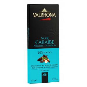 Valrhona Choklad Caraïbe Noisette 66%, 85 g
