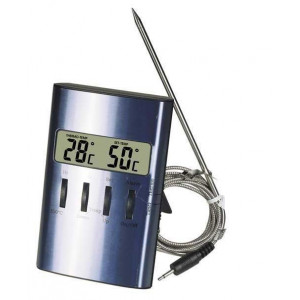 Digital Stektermometer Borstad aluminium