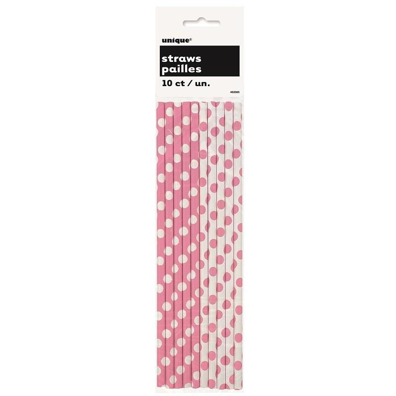 Unique Sugrör i papper, prickiga, rosa