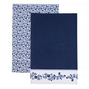 Kitchen Craft Kökshandduk Blå Blommor, 2-pack