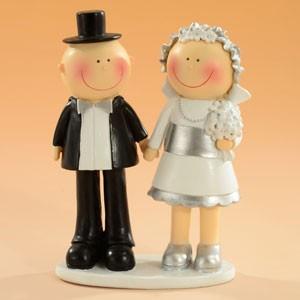 Brudpar Silverbröllop, 15 cm