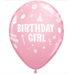 Qualatex Ballonger Birthday Girl, rosa